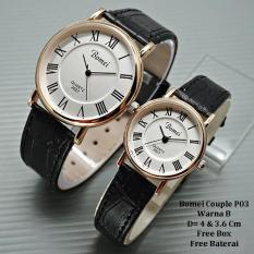 Jam Tangan Pasangan / Couple Murah Bomei Ceroza Black Ring Gold Color