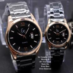 Jam Tangan Pasangan / Couple Murah GC Tendyra Black Ring Gold   Box