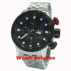 Jam tangan Pria Alexandre Christie original AC Sport chronograph rantai silver Black