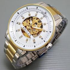 Jam Tangan Pria AUTOMATIC Ro lex Skeleton Omega Leather
