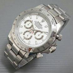 Jam Tangan Pria / Cowo Rolex Daytona Rantai Silver White - Mu1rfr