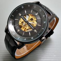 Jam Tangan Pria / Cowok Bvlgari Skeleton Strip Leather Full Black - 4T3nty