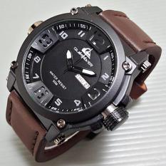 Jam Tangan Pria / Cowok Quiksilver Number Daydate Leather Dark Brow