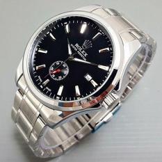 Jam Tangan Pria / Cowok Rolex Automatic Big Size Rantai Silver Black - C3yyst