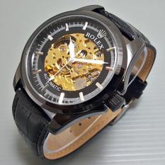 Jam Tangan Pria / Cowok Rolex Kulit Automatic Skeleton Big Size Black - Nyc9du