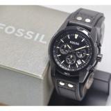Jual Jam Tangan Pria Fashion Fossil Chronograph Tanggal Aktif Leather Strap Body Full Black Stainless Steel Oem
