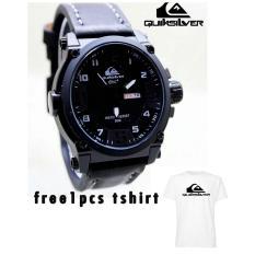 Jam Tangan Pria Quick Silver Strap Kulit Gratis Tshirt Quick Silver Original