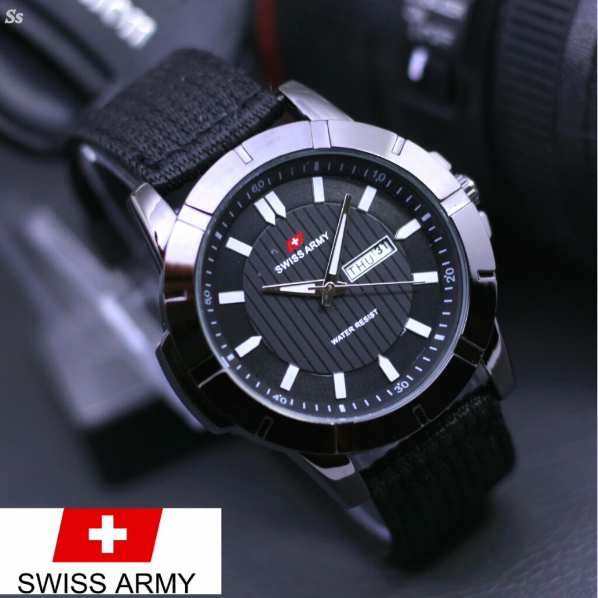 Jeep Man Jam Tangan Pria Casual Fashion Formal Chrono Aktif Swiss Army Infantry Full Set Hitam