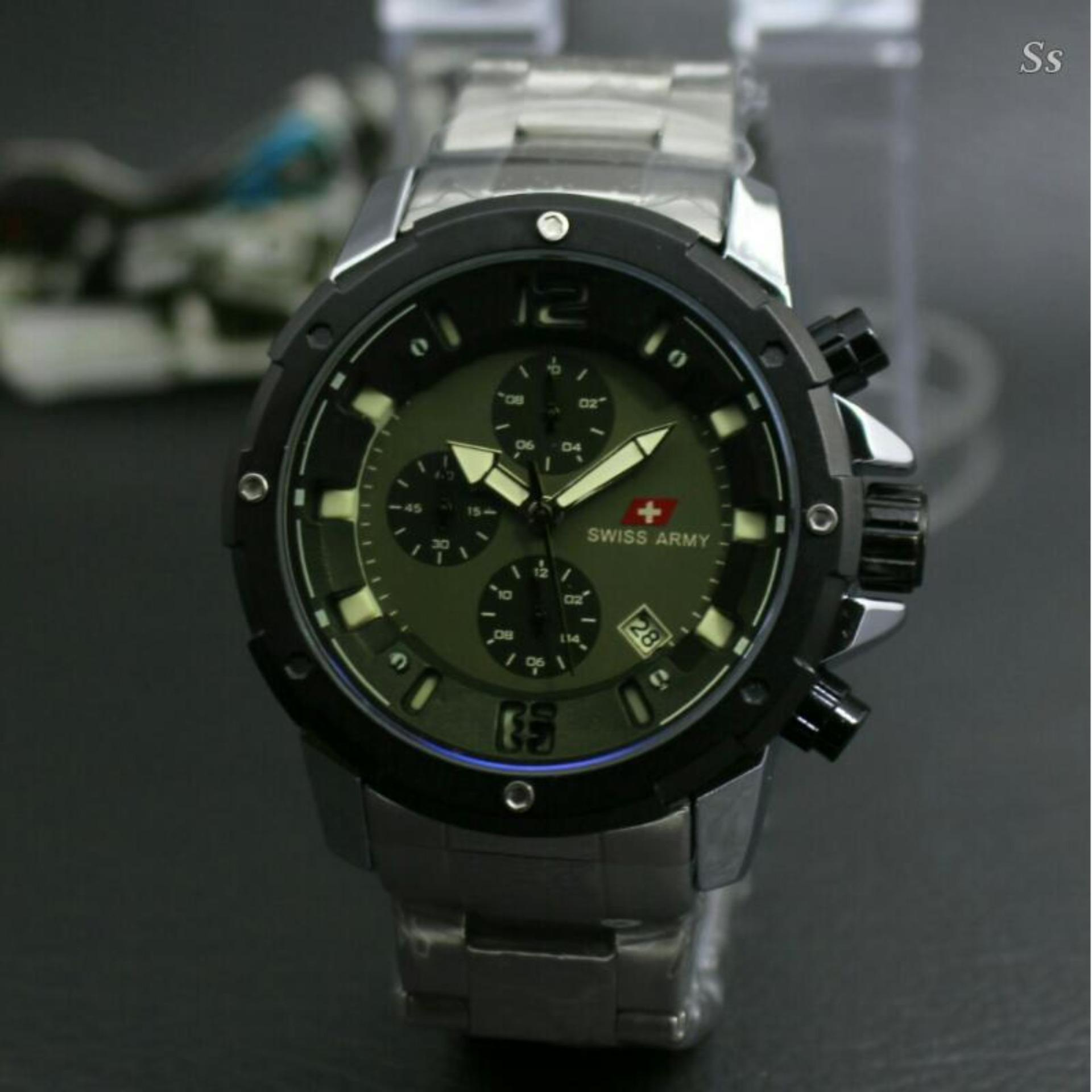 Jam Tangan Pria Terbaru Swiss Army SA6677 Body Stainless steel Casual & Formal