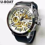 Jam Tangan Pria U Boat Skeleton Ub1 Rubber Black White Automatic Jam Tangan Diskon 40