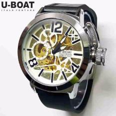 Jual Jam Tangan Pria U Boat Skeleton Ub1 Rubber Black White Automatic Jam Tangan Online