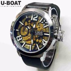 Jam Tangan Pria U-Boat Skeleton UB1 Rubber Black White Automatic