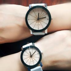 Jam Tangan Quartz 1 Pair Pria dan Wanita Strap Kulit PU Men Women Stainless Steel Leather Couple Watch