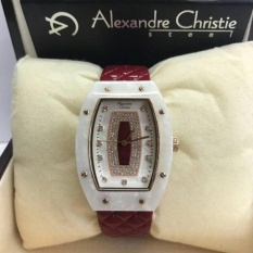 Jam Tangan Sport Formal Fashion Kasual Alexandre Christie Original Wanita Cewek Perempuan Alexandre Christie Model Terbaru Termurah Terlaris Keren Elegan Simple Analog Kulit Leather Alexandre Christie AC 2638 Original Merah Maron Murah