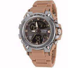 Jam tangan sporty DZINER ORIGINAL 8139D-Dual time-Rubber strap-elegan for man