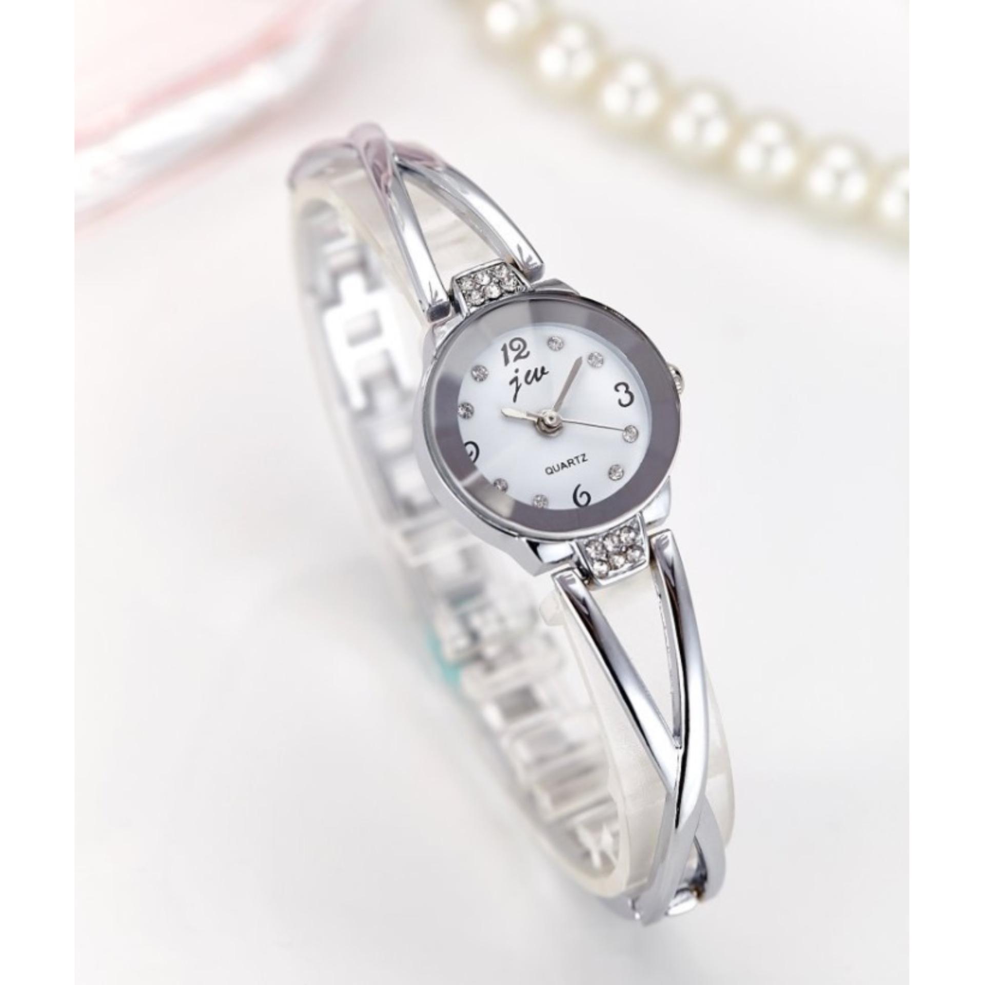... Jam Tangan Stainless Steel Perhiasan Wanita #JW945 Gelang Fashion Bracelet Watch Watches - SILVER