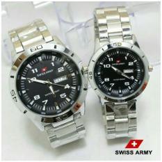 Jam Tangan Swiss Army Couple Original Tanggal Aktif Stainless Steel Pria/Wanita