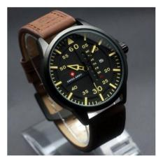 Jam Tangan Swiss Army Original SA-6062 Black Cream Dark Brown Leather