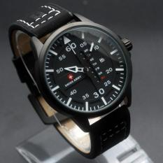 Jam Tangan Swiss Army Original SA-6062 Black White - Black Leather
