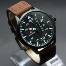 Jam Tangan Swiss Army Original SA-6062 Black White Dark Brown Leather