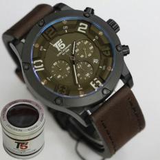 Jam Tangan T5 H3476G Original Men Fashion Casual Leather Strap Chronograph - Coklat