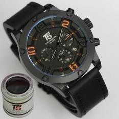 Jam Tangan T5 H3476G Original Men Fashion Casual Leather Strap Chronograph - Hitam Kombinasi