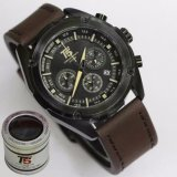 Toko Jam Tangan T5 H3515 Original Men Fashion Casual Leather Strap Chronograph Coklat Tua Dekat Sini