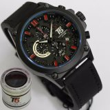 Jual Jam Tangan T5 H3515 Original Men Fashion Casual Leather Strap Chronograph Hitam Combi Merah Import