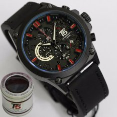 Kualitas Jam Tangan T5 H3515 Original Men Fashion Casual Leather Strap Chronograph Hitam Combi Merah Wk Watch