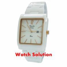 Jam tangan wanita Alexandre Christie original AC Keramik Putih Rosegold