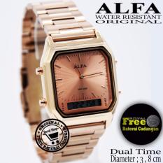 Jam Tangan Wanita - Alfa W-8803SBS- Dual Time - Strap Stainless Steel
