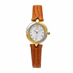Jam Tangan Wanita - Brown Silver Gold White - Leather Strap - ARYJ92