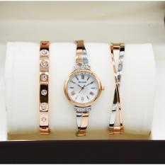 jam tangan wanita casual dan fashion BVLGARI [qq-swiss army-alba-hush pupies-tetonis] - stainless steel plus 2 gelang aksesories diamond