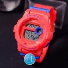 jam tangan wanita digitec 2074 hitam tali merah model baby g mantap keren !