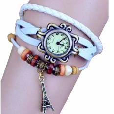 Jam Tangan Wanita Fashion Leather Strap Lilit Gelang - Putih