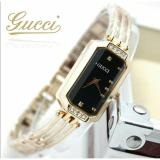 Jual Jam Tangan Wanita Gucci Stainless Line Gold Diamond Strap Fashion Model Branded