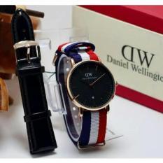Jam Tangan Wanita Paket D.W 2 Tali lengkap box Paket d.w
