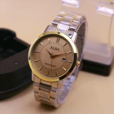 jam tangan wanita terbaru casual fashion dan cantik[qq-gc watch-alba-swiss army-q-max-guess-aigner]-tanggal aktif-rantai kombinasi silver dan gold ring gold-stainless steel