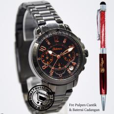 Jam Tangan Wanita - Tetonis T6025BTH Cronograph - Strap Stainless Steel - ( Bonus Pulpen Cantik