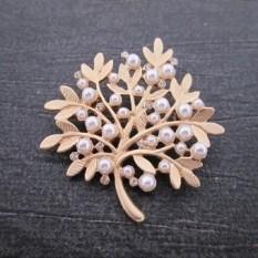 Jepang dan Korea Selatan Perhiasan Grosir Antik Retro Berlebihan Daun Karang Mutiara Berlian Buatan Penggemar Bros-Internasional