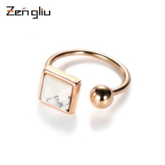 Japan and South Korea open imitation marble ring finger ring female personality trendsetter plating color can adjust the size of gold jewelry ring alive - intl