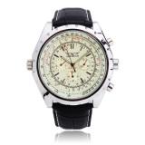 Jual Beli Jaragar Automatic Mechanical Pu Band Big Dial Quartz Wrist Watch Baru Tiongkok