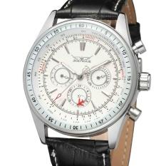 JARAGAR Merek Mekanik Uhr Aviator Militer Skala Digital Dial Chronograph Desain Pria Clock Watch Leather Otomatis