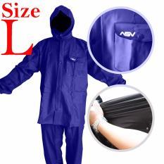 Jas Hujan ASV Versi 1 Kualitas No.1 Karet PVC Full Rubber Tebal Sistem Press Original Waterproof Raincoat - Biru Tua Ukuran L