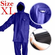 Jas Hujan ASV Versi 1 Kualitas No.1 Karet PVC Full Rubber Tebal Sistem Press Original Waterproof Raincoat ASV - Biru Tua Ukuran XL