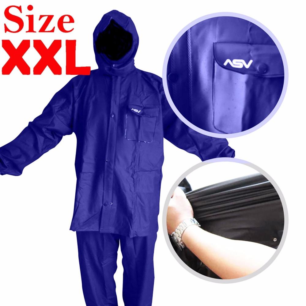 Jas Hujan ASV Versi 1 Kualitas No.1 Karet PVC Full Rubber Tebal Sistem Press Original Waterproof Raincoat ASV - Biru Tua Ukuran XXL