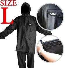 Jas Hujan ASV Versi 1 Kualitas No.1 Karet PVC Full Rubber Tebal Sistem Press Original Waterproof Raincoat ASV - Hitam Ukuran L