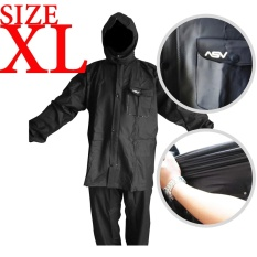 Jas Hujan ASV Versi 1 Kualitas No.1 Karet PVC Full Rubber Tebal Sistem Press Original Waterproof Raincoat ASV - Hitam Ukuran XL