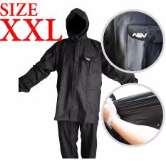 Jas Hujan ASV Versi 1 Kualitas No.1 Karet PVC Full Rubber Tebal Sistem Press Original Waterproof Raincoat ASV - Hitam Ukuran XXL