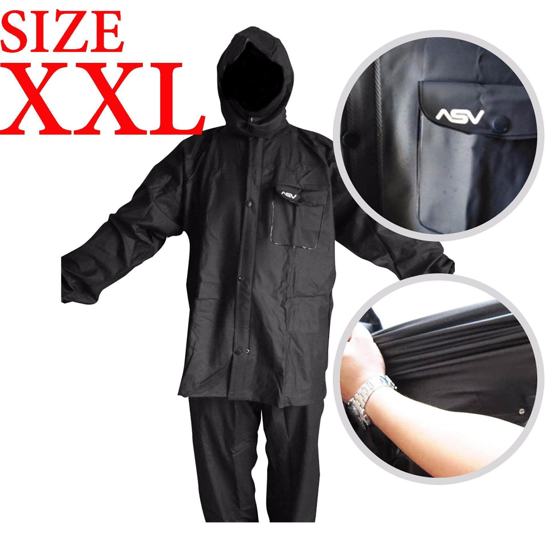 Jas Hujan ASV Versi 1 Kualitas No.1 Karet PVC Full Rubber Tebal Sistem Press Original Waterproof Raincoat ASV - Hitam Ukuran XXL